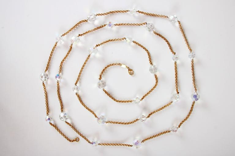 Chanel Gold Tone Chain & Faceted Crystal Bead Necklace Sautoir Ca.1993 5