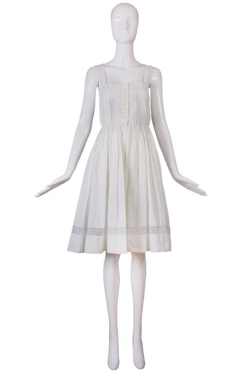 Gray Lanvin Haute Couture Cotton and Lace Sun Dress For Sale