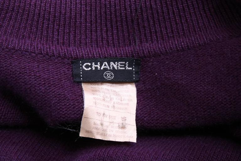 Chanel 100%Cashmere Purple/Plum Sweater Cardigan w/CC Logo Buttons & Waist Tie 3