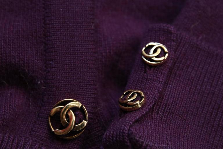 Chanel 100%Cashmere Purple/Plum Sweater Cardigan w/CC Logo Buttons & Waist Tie 2