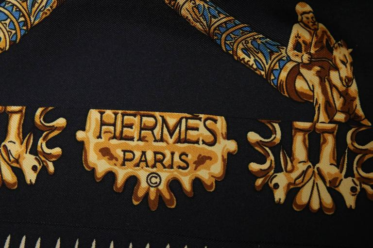 Vintage Hermes Black & Gold Silk Print Blouse Shirt Top  4