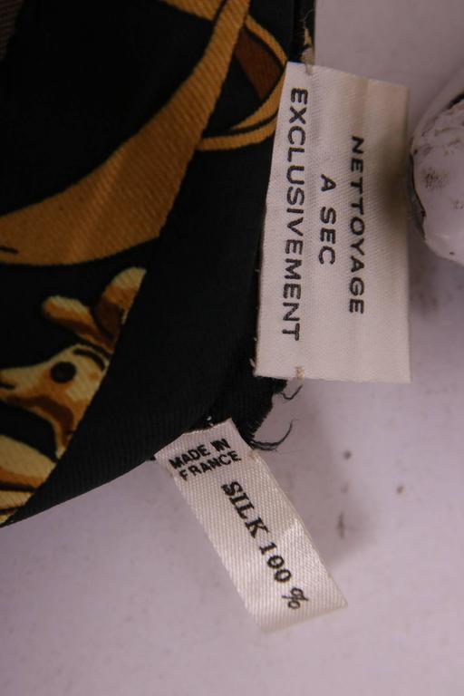 Vintage Hermes Black & Gold Silk Print Blouse Shirt Top  3
