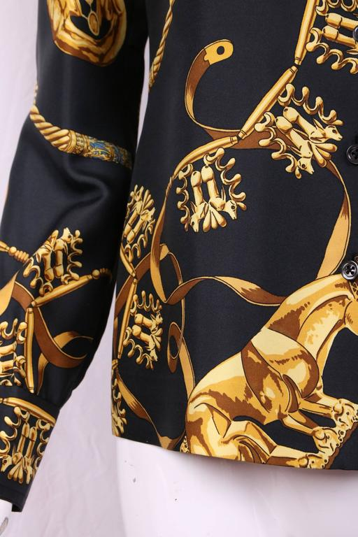 Vintage Hermes Black & Gold Silk Print Blouse Shirt Top  2