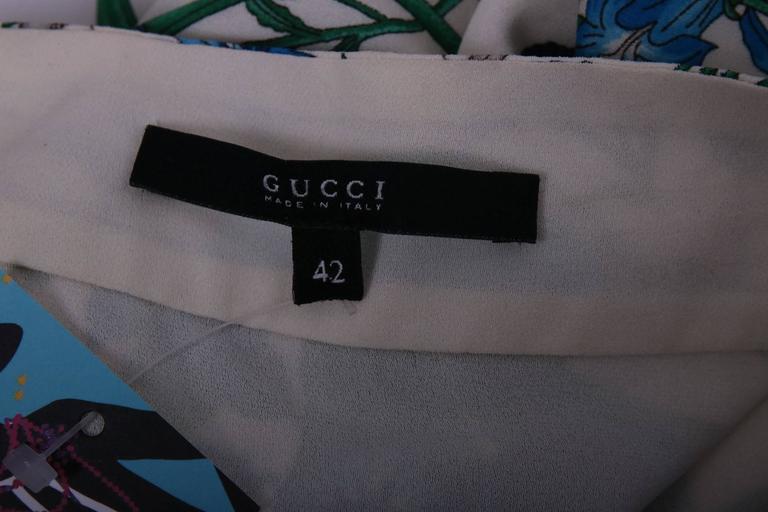 Gucci 100% Silk Floral Print Halter Top w/Keyhole Neckline, Open Back & Belt 5