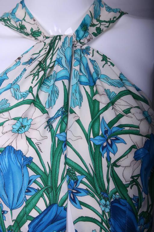Blue Gucci 100% Silk Floral Print Halter Top w/Keyhole Neckline, Open Back & Belt For Sale