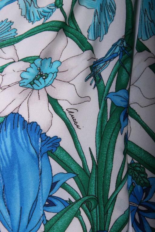 Gucci 100% Silk Floral Print Halter Top w/Keyhole Neckline, Open Back & Belt 4