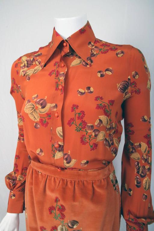 1970s Valentino 2 piece Velvet Maxi Skirt and Silk Blouse in Rare Acorn Print 2