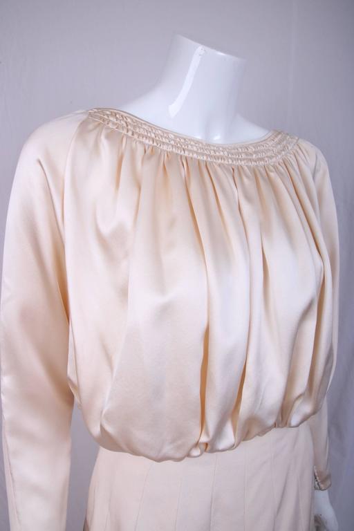 Beige Galanos Cream Silk Charmeuse Cocktail Dress  For Sale