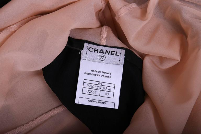 2004 Chanel Black & Creme Two-Tone Chiffon Gown w/High-Low Hem 3