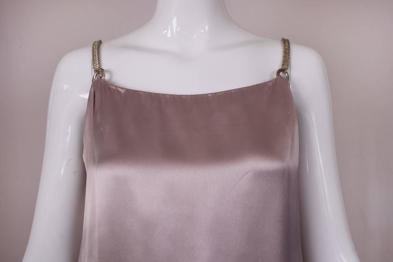 Women's Anne Klein Mini Shift Cocktail Dress w/Fishtail Metal Chain Straps & Cowl Back For Sale