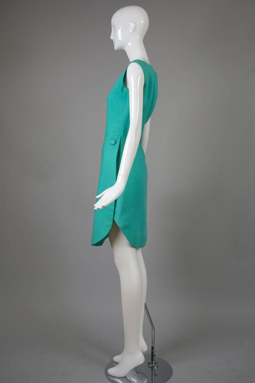 1960's Geoffrey Beene Aqua Linen Boatneck Shift Dress w/Tulip Hemline 4