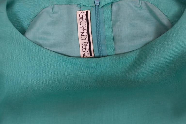 1960's Geoffrey Beene Aqua Linen Boatneck Shift Dress w/Tulip Hemline 5