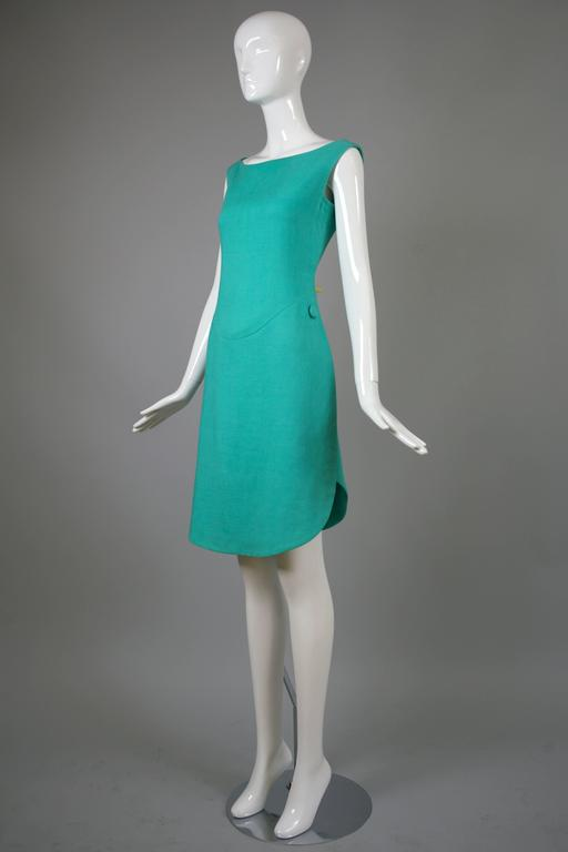 1960's Geoffrey Beene Aqua Linen Boatneck Shift Dress w/Tulip Hemline 3