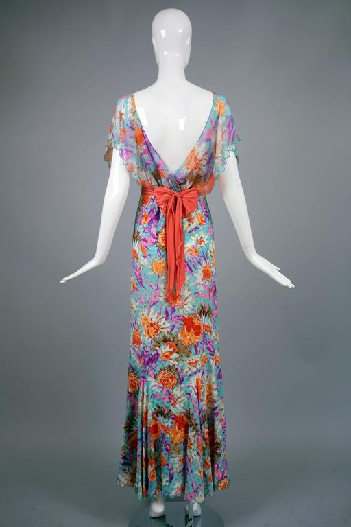 Tracy Feith 100% Silk Floral Bias Cut 1930's Inspired Evening Gown w/Mermaid Hem 2
