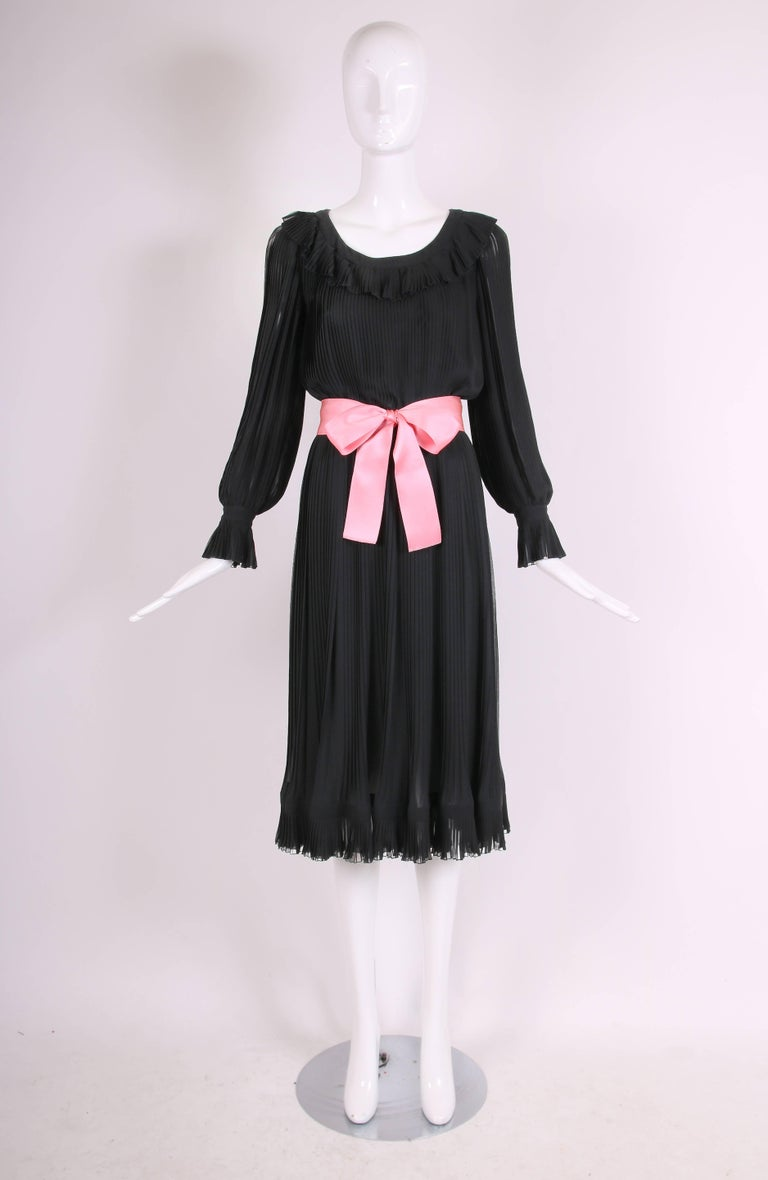 1974 Christian Dior Haute Couture Black Silk Chiffon Pleated Dress No.00299I In Excellent Condition For Sale In Los Angeles, CA