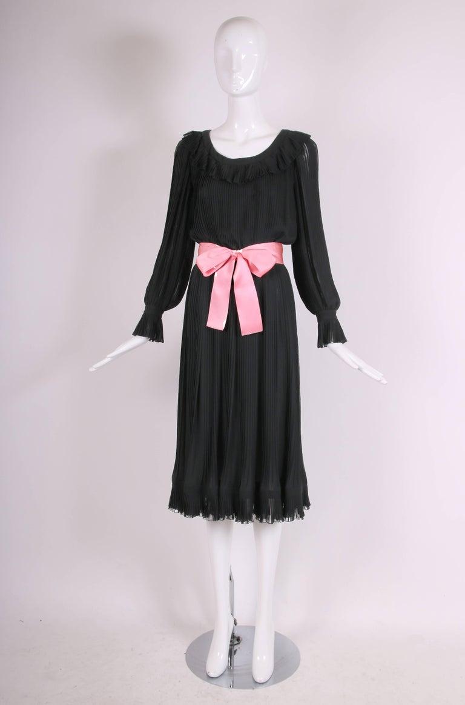 Women's 1974 Christian Dior Haute Couture Black Silk Chiffon Pleated Dress No.00299I For Sale