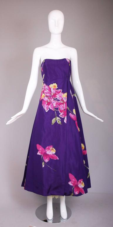Christian Lacroix Purple Floral Silk Sequin Applique Strapless Evening Gown  2