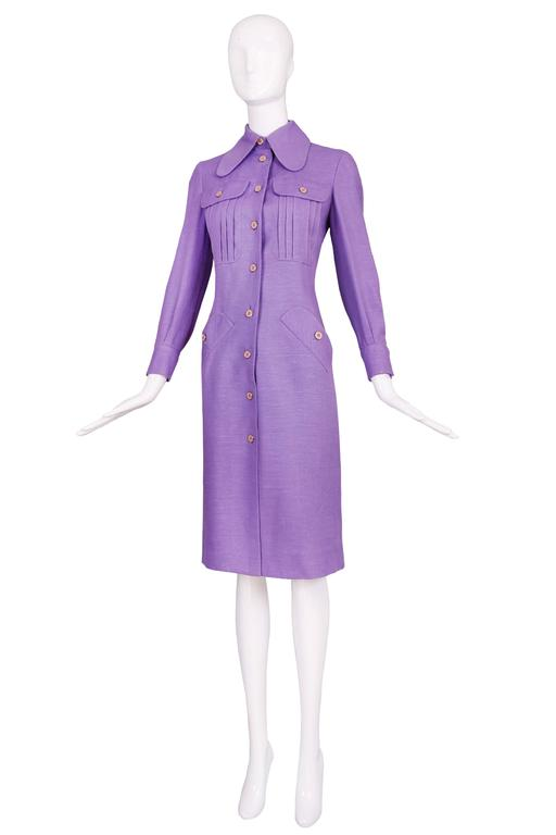 1970's Donald Brooks Lilac Linen Button Down Day Dress 2