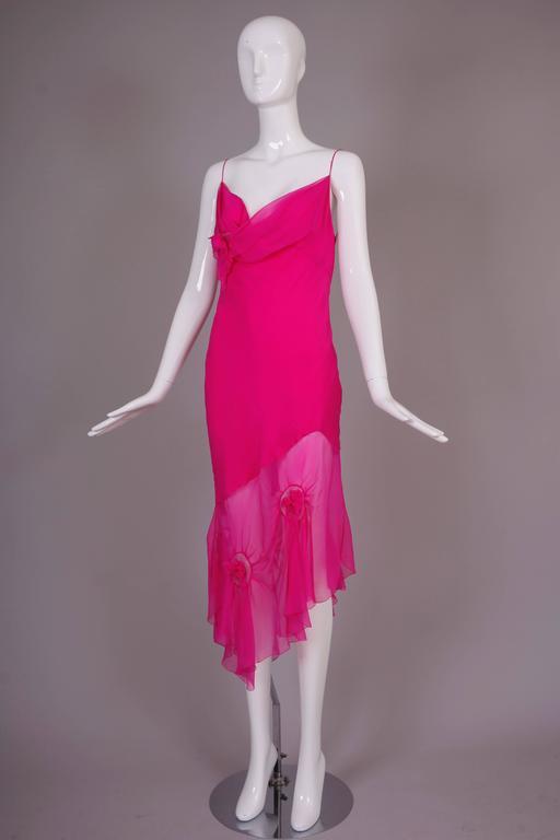 John Galliano for Christian Dior Shocking Pink Silk Chiffon Dress Ca. 2000 2