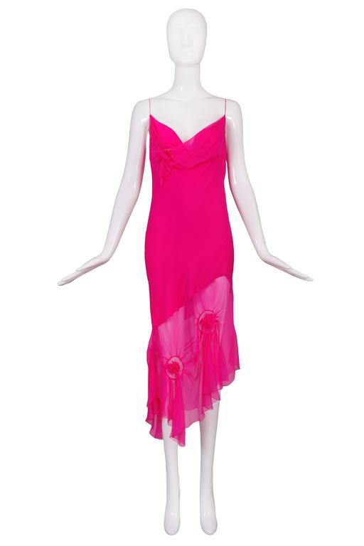 John Galliano for Christian Dior Shocking Pink Silk Chiffon Dress Ca. 2000 3