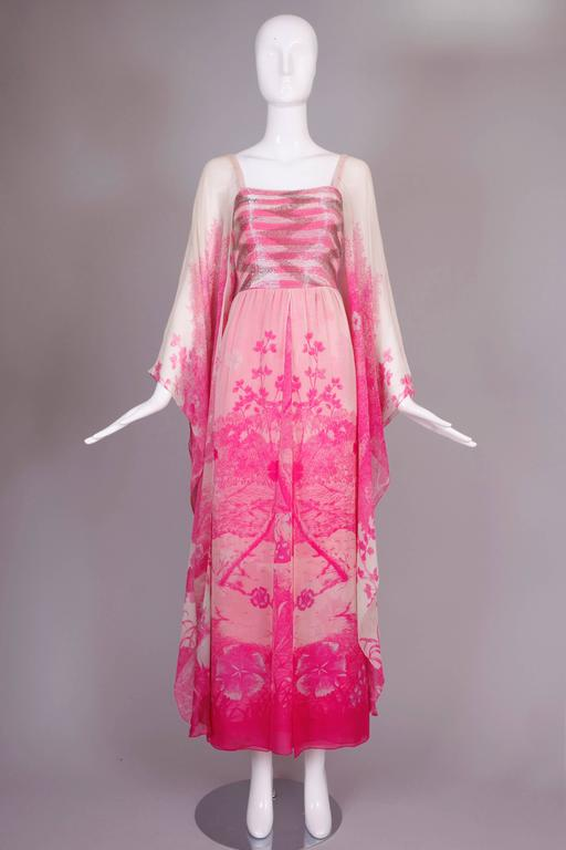 Women's 1970's Hanae Mori Couture Pink Chiffon Beaded Floral Print Evening Gown  For Sale