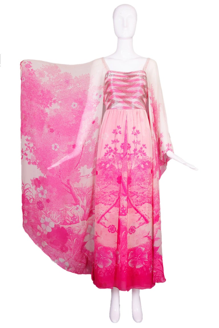 1970's Hanae Mori Couture Pink Chiffon Beaded Floral Print Evening Gown  In Excellent Condition For Sale In Los Angeles, CA