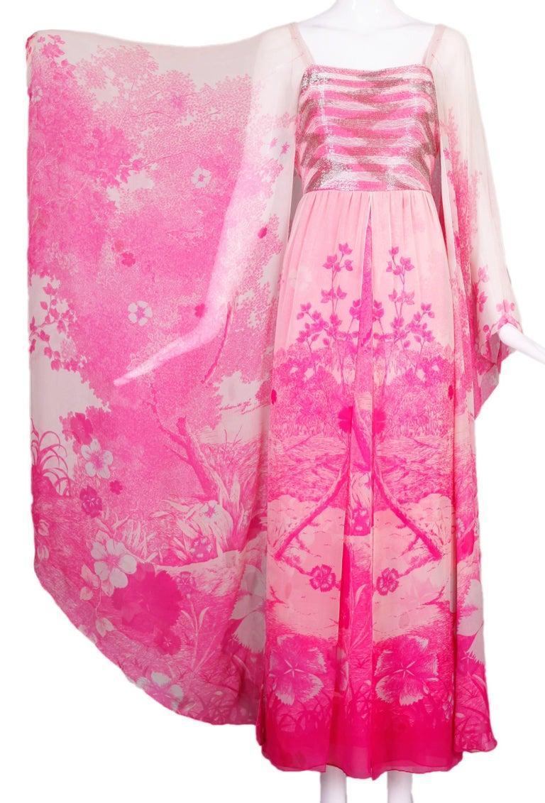 Rare 1970's beaded Hanae Mori couture pink chiffon, floral