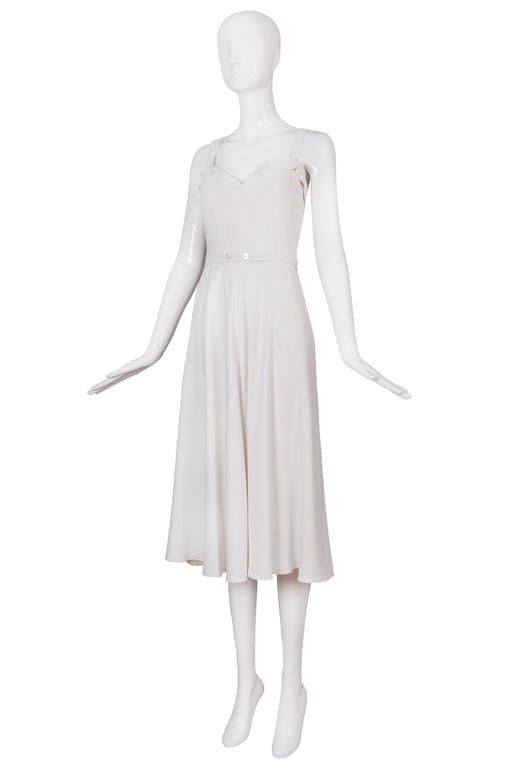 Ralph Lauren purple label white 100% rayon white summer dress with belt at the waist. Size 4. In excellent condition.