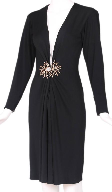 Yves Saint Laurent Black Jersey Deep V-Neck Dress w/Deep V-Neck & Coral Closure In Excellent Condition For Sale In Los Angeles, CA