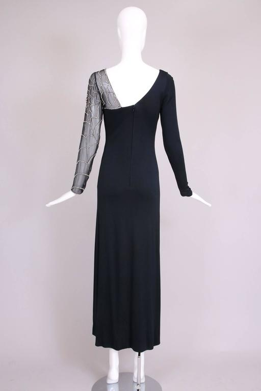 Mollie Parnis Black Silk Jersey Evening Dress Gown w/Beaded Spiderweb Sleeves 4