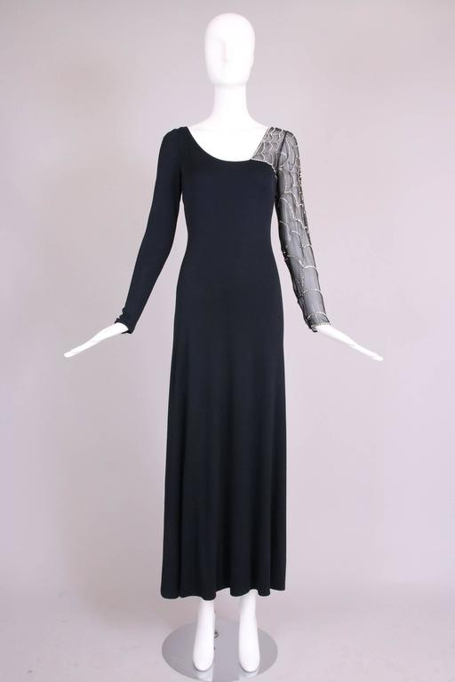 Mollie Parnis Black Silk Jersey Evening Dress Gown w/Beaded Spiderweb Sleeves 3