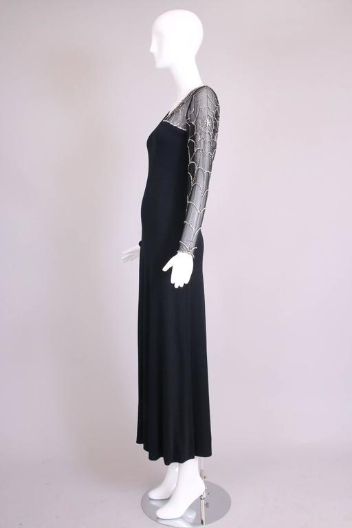Mollie Parnis Black Silk Jersey Evening Dress Gown w/Beaded Spiderweb Sleeves 5