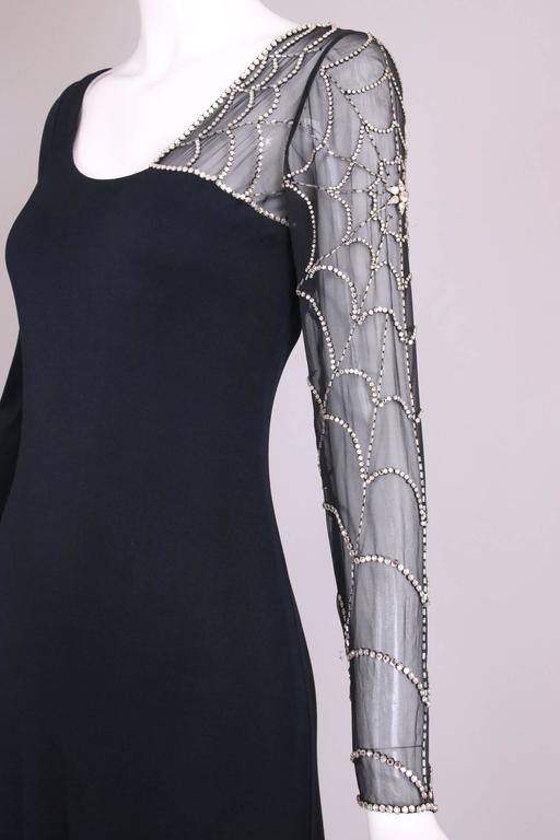 Mollie Parnis Black Silk Jersey Evening Dress Gown w/Beaded Spiderweb Sleeves 6