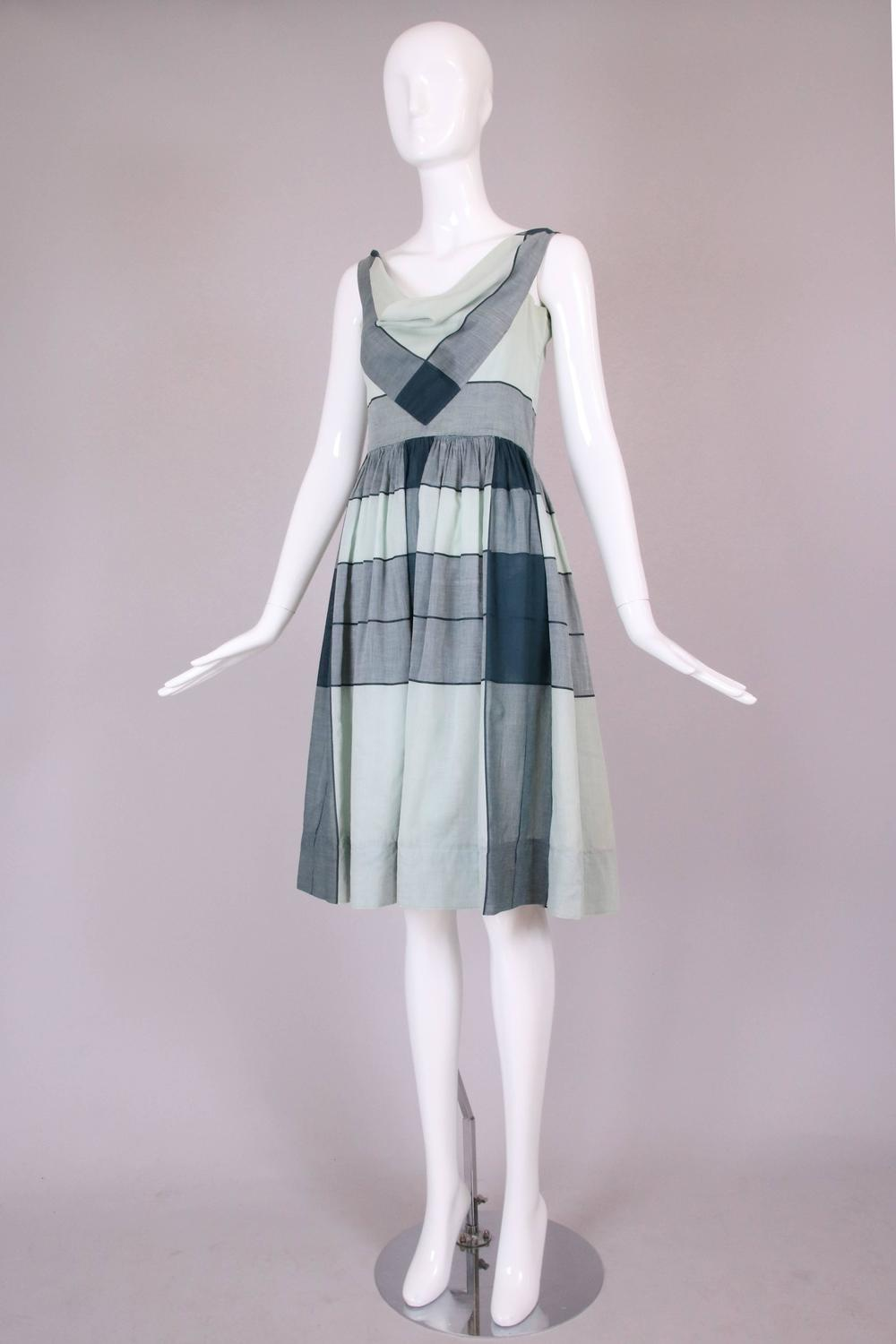 Vintage Claire Mccardell Graphic Cotton Day Dress W Cowl