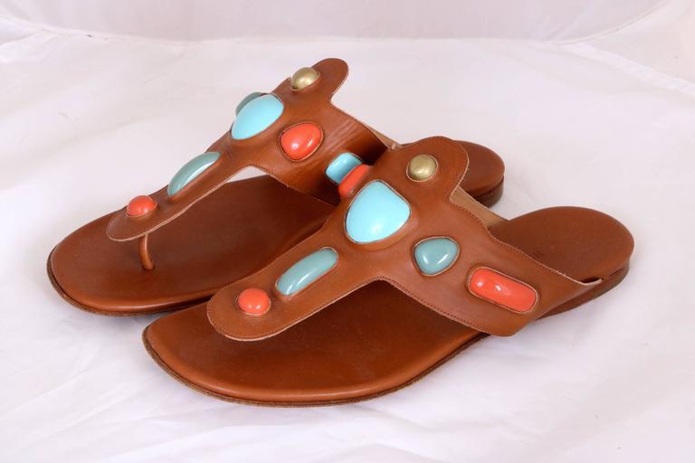 Vintage Hermes Leather Thong Sandals 2