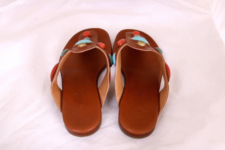 Vintage Hermes Leather Thong Sandals 3