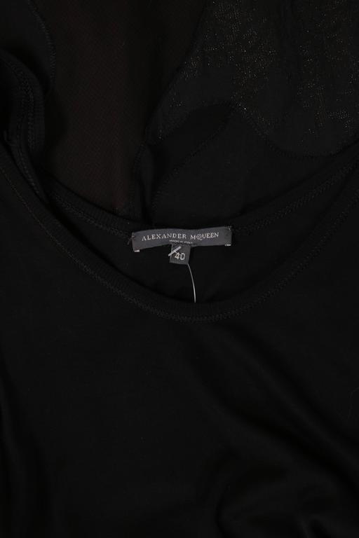 Alexander McQueen Black Cotton Stretch Tank Dress w/Appliqued Skirt For Sale 4