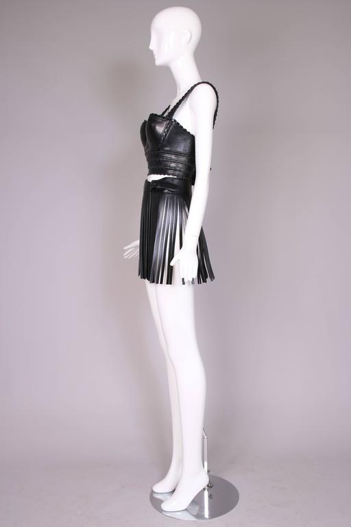 Iconic Alaia Black Leather Fringe Belt Circa 2001 4