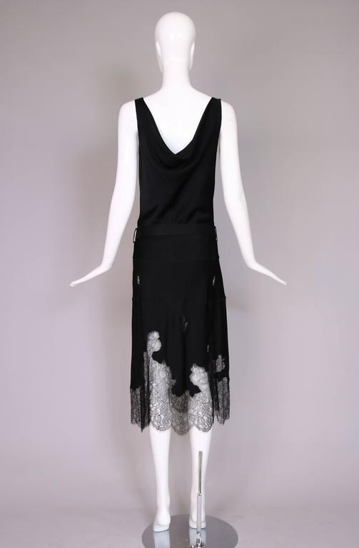 John Galliano Black Silk & Lace Bias Cut Sleeveless Evening Cocktail Dress For Sale 3