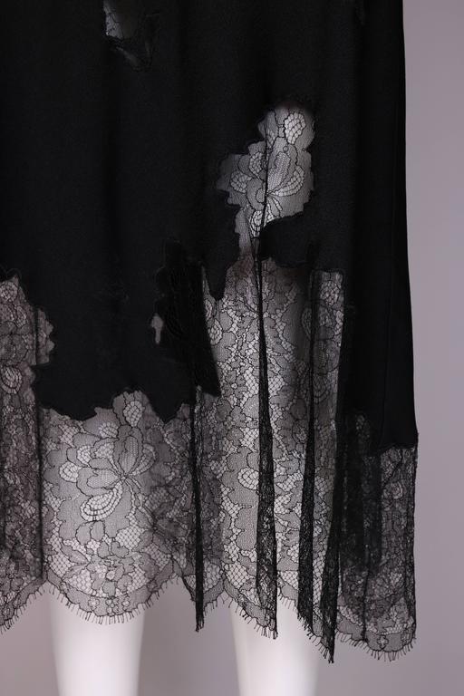 John Galliano Black Silk & Lace Bias Cut Sleeveless Evening Cocktail Dress For Sale 1