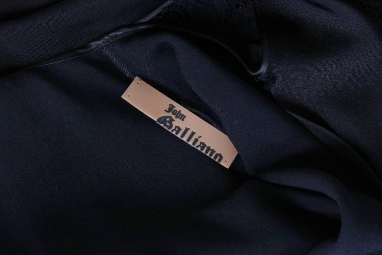 John Galliano Black Silk & Lace Bias Cut Sleeveless Evening Cocktail Dress For Sale 4