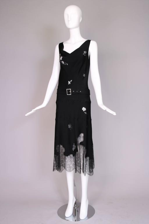 John Galliano Black Silk & Lace Bias Cut Sleeveless Evening Cocktail Dress In Excellent Condition For Sale In Los Angeles, CA