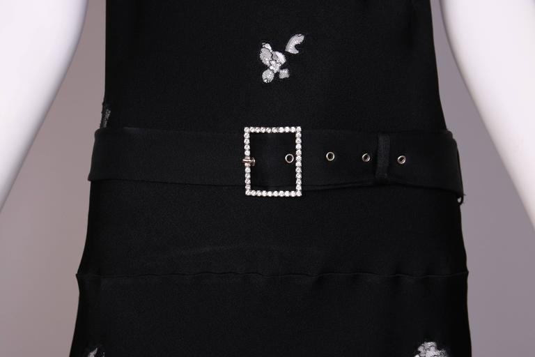 John Galliano Black Silk & Lace Bias Cut Sleeveless Evening Cocktail Dress For Sale 2