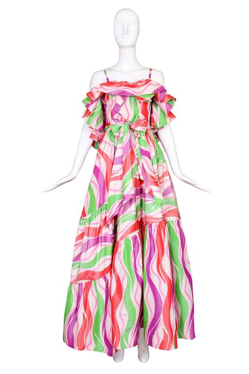 Circa 1979 Yves Saint Laurent Haute Couture Silk Printed Evening Gown No.47232 2