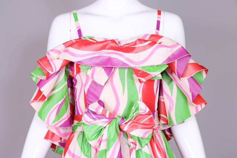 Circa 1979 Yves Saint Laurent Haute Couture Silk Printed Evening Gown No.47232 6