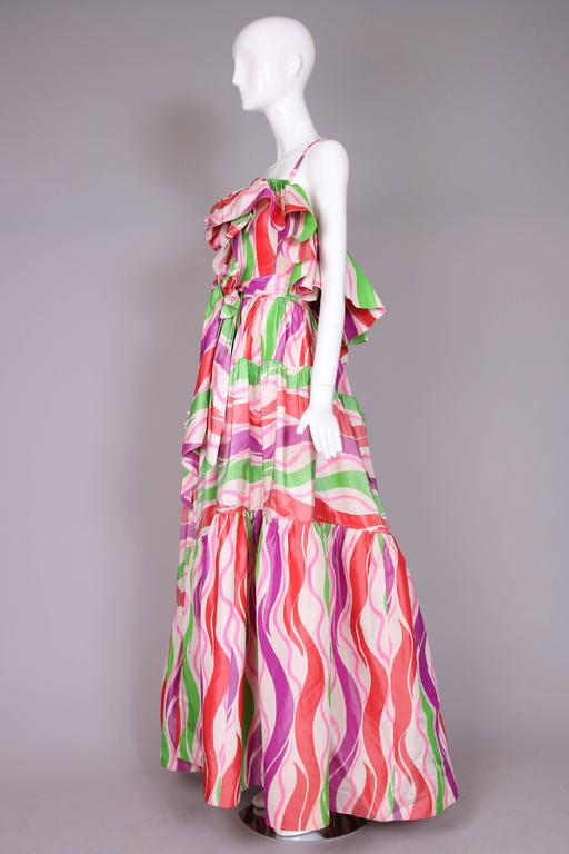 Circa 1979 Yves Saint Laurent Haute Couture Silk Printed Evening Gown No.47232 4