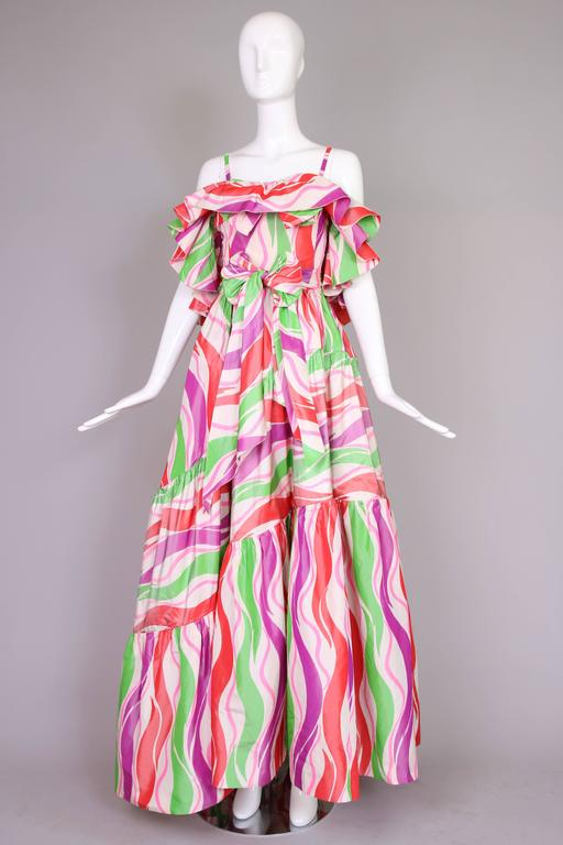 Circa 1979 Yves Saint Laurent Haute Couture Silk Printed Evening Gown No.47232 3