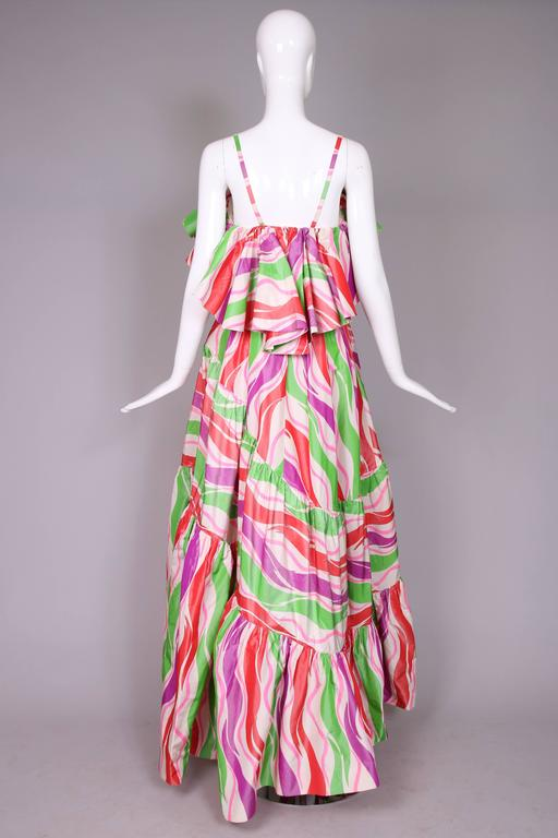 Circa 1979 Yves Saint Laurent Haute Couture Silk Printed Evening Gown No.47232 7