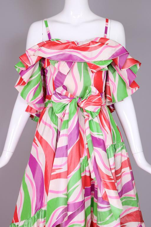 Circa 1979 Yves Saint Laurent Haute Couture Silk Printed Evening Gown No.47232 5
