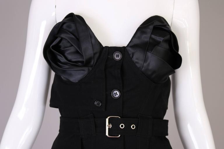 Women's Antonio Berardi Black Strapless Belted Mini Dress For Sale